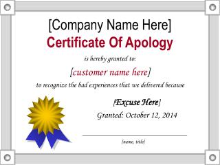[Company Name Here] Certificate Of Apology