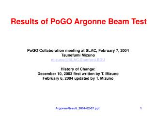 Results of PoGO Argonne Beam Test