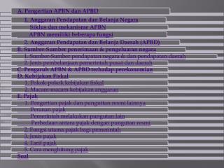 Anggaran Pendapatan dan Belanja  Negara (Budget)