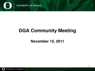 DGA Community Meeting November 15, 2011