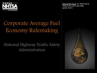 Corporate Average Fuel Economy Rulemaking
