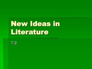 New Ideas in Literature