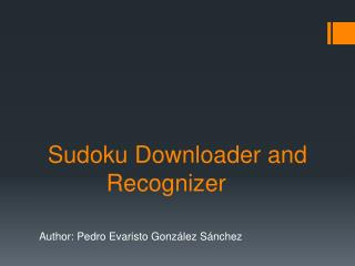 Sudoku Downloader and Recognizer