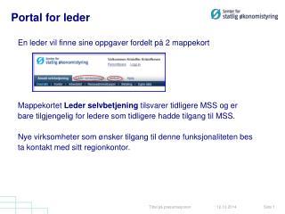 Portal for leder