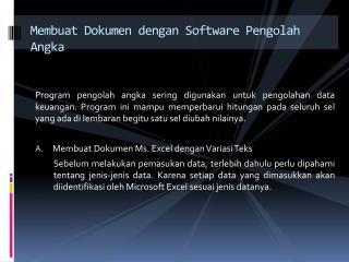 Membuat Dokumen dengan Software Pengolah Angka