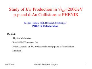 Study of J/ y  Production in  √ s nn =200GeV p-p and d-Au Collisions at PHENIX