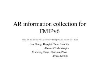 AR information collection for FMIPv6 draft-zhang-mipshop-fmip-arinfo-00.txt
