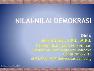 NILAI-NILAI DEMOKRASI