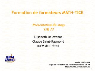 Formation de formateurs MATH-TICE
