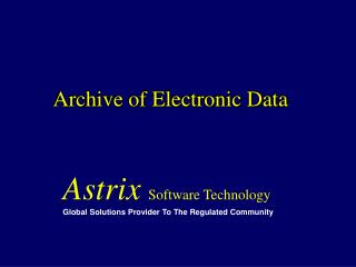 Archive of Electronic Data