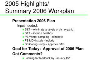 2005 Highlights/ Summary 2006 Workplan