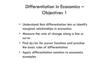 Differentiation in Economics � Objectives 1
