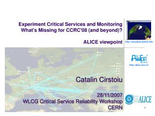 Catalin Cirstoiu 28/11/2007 WLCG Critical Service Reliability Workshop CERN