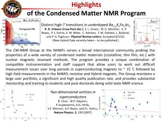 Highlights  of the Condensed Matter  NMR  Program