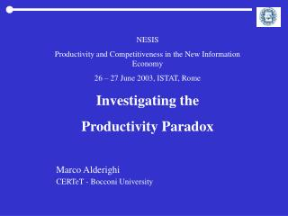 NESIS  Productivity and Competitiveness in the New Information Economy