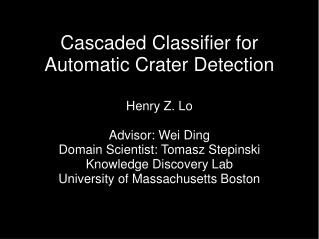 Cascaded Classifier for Automatic Crater Detection