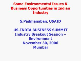 Some Environmental Issues  Business Opportunities in Indian Industry