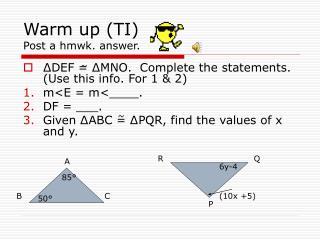 Warm up (TI)           Post a hmwk. answer.