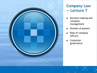 Company Law — Lecture 7