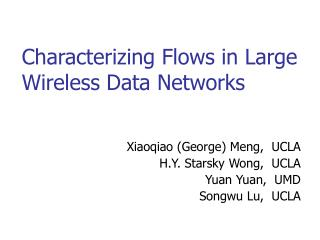 Characterizing Flows in Large Wireless Data Networks