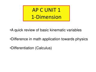 AP C UNIT 1 1-Dimension