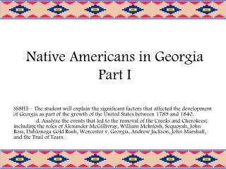 Native Americans in Georgia Part I