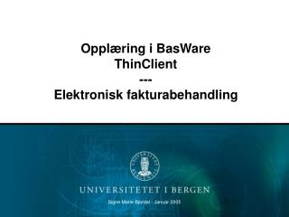 Opplæring i BasWare  ThinClient --- Elektronisk fakturabehandling