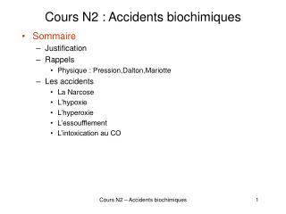 Cours N2 : Accidents biochimiques