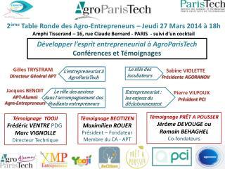 2 ème  Table Ronde des Agro-Entrepreneurs – Jeudi 27 Mars 2014 à 18h