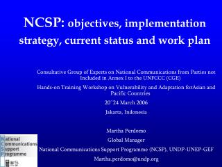 NCSP: objectives, implementation strategy, current status and work plan