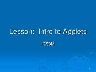 Lesson:  Intro to Applets