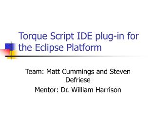 Torque Script IDE plug-in for the Eclipse Platform