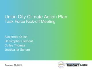 Union City Climate Action Plan Task Force Kick-off Meeting