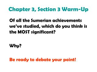 Chapter 3, Section 3 Warm-Up