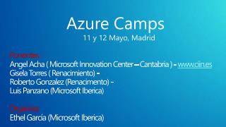Azure Camps 11 y 12 Mayo, Madrid