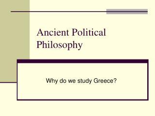 Ancient Political Philosophy