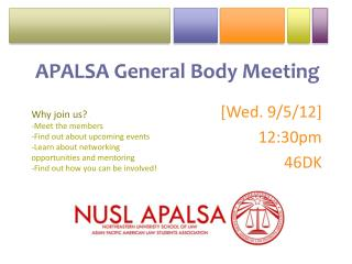APALSA General Body Meeting