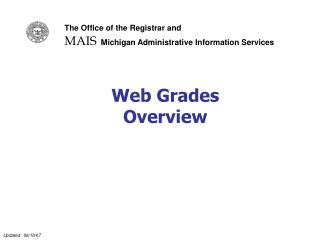Web Grades  Overview