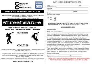 CRAIG'S COACHING ESH DANCE APPLICATION FORM