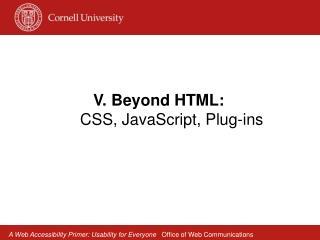 V. Beyond HTML:   CSS, JavaScript, Plug-ins