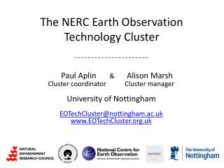 The NERC Earth Observation Technology Cluster