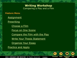 Writing Workshop Comparing a Play and a Film