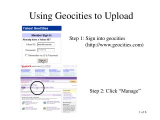 Using Geocities to Upload
