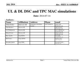 UL & DL DSC and TPC MAC simulations