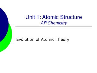 Unit 1: Atomic Structure AP Chemistry