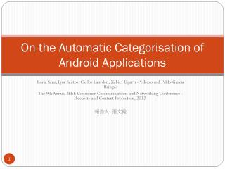 On the Automatic  Categorisation of Android Applications