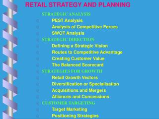 RETAIL STRATEGY AND PLANNING