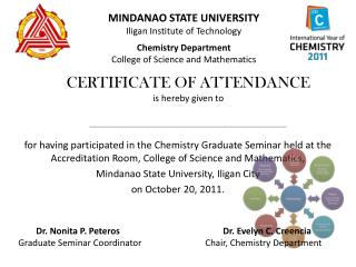 For having participated in the Chemistry Graduate Seminar held at the Accreditation Room, College of Science and Mathema