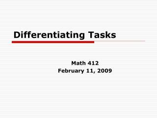 Differentiating Tasks