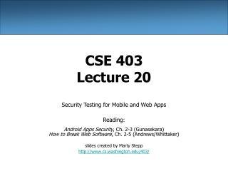 CSE 403 Lecture 20
